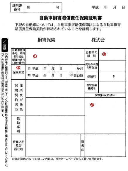 富山車庫証明・名義変更手続きセンター自動車損害賠償責任保険証明書 ...